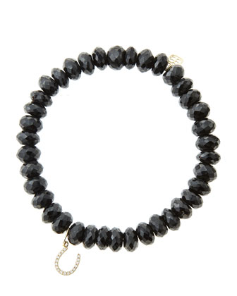 8mm Faceted Black Spinel Beaded Bracelet with 14k Yellow Gold/Micropave ...
