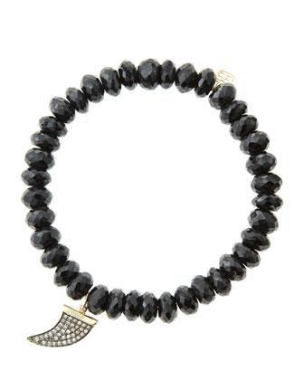 8mm Faceted Black Spinel Beaded Bracelet with 14k Gold/Diamond Medium Horn ...