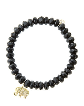 8mm Faceted Black Spinel Beaded Bracelet with 14k Gold/Diamond Small ...
