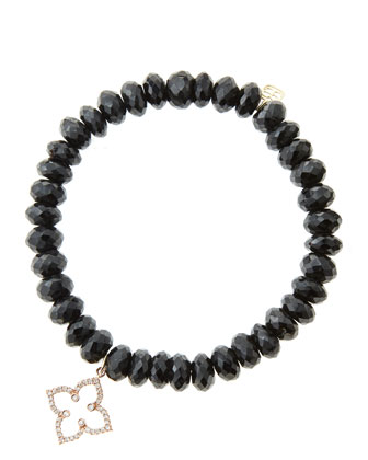 8mm Faceted Black Spinel Beaded Bracelet with 14k Rose Gold/Diamond ...