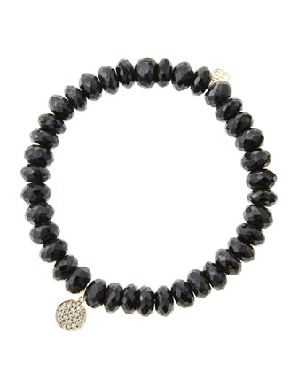 8mm Faceted Black Spinel Beaded Bracelet with Mini Yellow Gold Pave Diamond ...