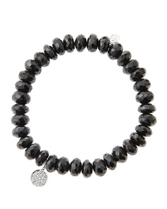 8mm Faceted Black Spinel Beaded Bracelet with Mini White Gold Pave Diamond ...