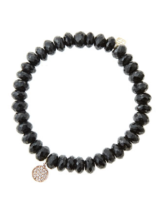 8mm Faceted Black Spinel Beaded Bracelet with Mini Rose Gold Pave Diamond ...