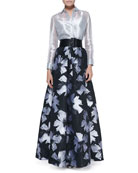 Long-Sleeve Sheer Metallic Blouse & Pleated Floral-Print Ball Skirt