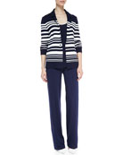Striped Knit One-Button Blazer, Scoop-Neck Sleeveless Tank & Wide-Leg Pull-On Pants