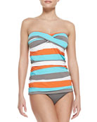 Rugby-Stripe Shirred Twisted Bandini Top & Pearl Solids Hipster Swim Bottom