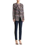 Space Dye Knit Cardigan, Knit Bateau-Neck Shell & Soft Stretch Denim Leggings