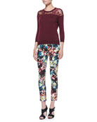 Manon Lace-Yoke Jumper and Melinda Fitted Printed Trousers