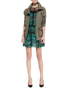 Twill Contrast-Trim Military Jacket & Lace-Panel Printed Silk Dress