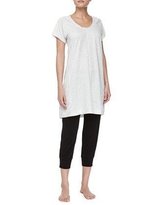 Pima Cotton Short-Sleeve Sleepshirt & Drawstring Capri Pants