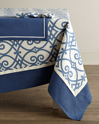 Brynn Indigo Tablecloths & Napkins, Jefferson Placemats