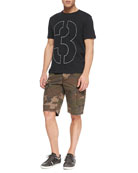 Short-Sleeve Number Tee & Camo-Print Ripstop Shorts