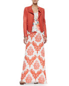 Marihany Chiffon Embroidered Maxi Skirt, Dali Floral-Print Sleeveless Top & Italian Stone Washed Lambskin Jacket