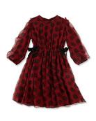 Girls' Long-Sleeve Dot Silk Dress