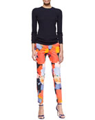 Linear Ribbed Crewneck Wool-Silk Top & Painterly Printed Caroline Pants