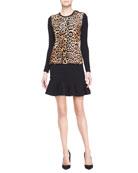 Long-Sleeve Leopard-Print Top & Lindley Flared Skirt