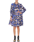 Floral-Print Collared Spring Coat & Inverted-Pleat Floral-Print Dress