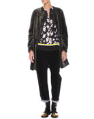 Reversible Shearling/Leather Coat, Contrast-Trim Printed Silk Blouse & Velvet/Denim Cropped Relaxed Pants