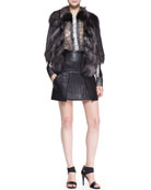 Silver Fox Fur Jacket, Long-Sleeve Top with Lace & Trapunto Stitched Lambskin Leather Skirt