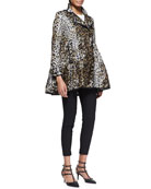Skirted Heart-Leopard-Print Anorak, Cotton Jersey Tee with Point d'Esprit & Cady Tech Ankle Zip Leggings
