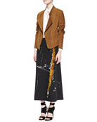 Asymmetric Zip Suede Jacket, Long-Sleeve Blouse & Painterly Printed Midi Pull-On Skirt