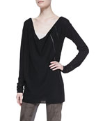 Long-Sleeve Draped Wool Top & Ribbed Cashmere-Blend Tank Top