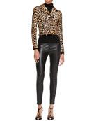 Roxana Leopard-Print Moto Jacket, Cashmere-Silk Turtleneck & Abbey Leather Skinny Pants