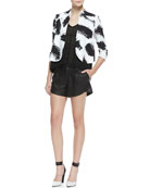 York Brush-Print Cropped Crepe Jacket, Jacie Lace-Sleeve Slub Tee & Butterfly Pleated Leather Shorts