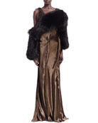 Raw-Edge Seamed Sleeveless Gown and Fox Fur Convertible Scarf