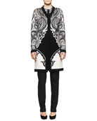 Intarsia-Knit Paisley Duster, Long-Sleeve Inverted Geo-Print Blouse with Solid Center & Skinny Dotted Pants