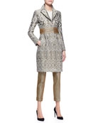 Three-Snap Jacquard Princess Topper, Long-Sleeve Beaded Bib-Front Blouse & Stretch Herringbone-Print Cuffed Pants