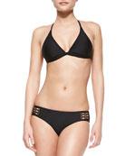 Solid Halter Underwire Bikini Top & Retro Swim Bottom, Black