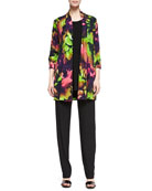 Tropical Flower Printed Cardigan, Long Knit Tunic/Tank & Stretch-Knit Slim Pants, Women's