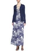 Kennedy V-Neck Cardigan, Sloane Printed Maxi Dress & She Shells Necklace