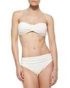 Twist Bandeau Bikini Top & Banded Shirred Swim Bottom