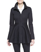 Sleeveless Collared Poplin Bodysuit & Peplum Zip Jacket with Leather Detail