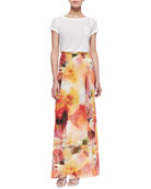 Rolled-Sleeve Front-Pocket Tee & Leah Floral-Print Wrap Skirt