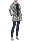 Tavia Chevron Winter Cotton Jacket, Sienna Cashmere/Silk Peplum Sweater & Super Skinny Denim Jeans