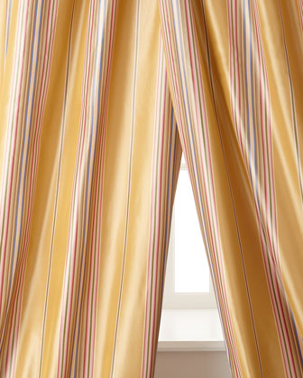 Windsor Stripe Silk Taffeta Curtains