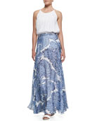 Pleated Cut-In Flowy Tank & Watercolor Paisley-Print Maxi Skirt