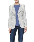 Colorblock Tweed Blazer & Back Pleat-Detail Silk Top