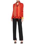 Angled-Front Merino Jersey Cardigan, Merino Jersey Muscle Tee, Washable-Crepe Straight-Leg Pants & Shibori Tissue Modal Scarf, Petite