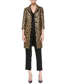 Long Leopard-Print Topper with 3/4-Sleeves, Sleeveless V-Neck Wrap Twist Blouse & Liquid Satin Side Zip Cropped Pants