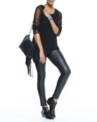Airy Linen V-Neck Top, Silk Asymmetric Draped Shell & Ponte Leather-Blocked Leggings