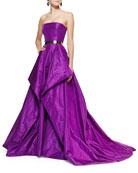 Strapless Fold-Detail Ball Gown and Golden Metal Waist Belt