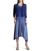 Gossamer Crepe Cardigan & Ombre Silk Long Dress