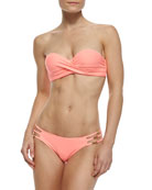 Enjoy Bombshell Bandeau Swim Top & Enjoy Gold Strappy-Side Swim Bottom