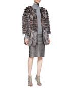 3/4-Sleeve Fox Fur/Tulle Coat & Python-Print Leather Pencil Skirt