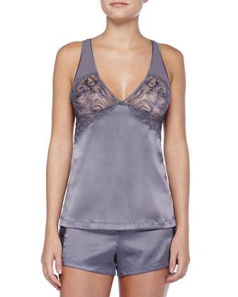 Pizzo Elastico Lace-Inset Satin Shorts, Gray