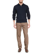 Merino 1/2-Button Pullover & Raleigh Washed-Twill Pants